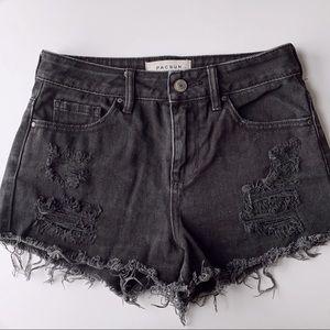 PACSUN denim shorts - distressed
